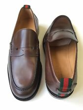 GUCCI 'Spirit' Penny Loafer Web Smooth Brown Leather 407444 Sz UK 8 (US 8.5)