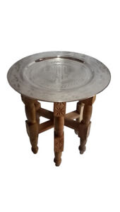 """Moroccan Silver Tray Folding Table 16"""" x 18""""H Single Hand in Carved Solid Wood"""