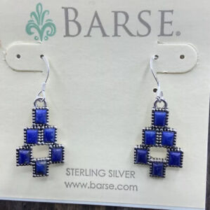 Barse Mosaic Earrings- Lapis & Sterling Silver- New With Tags