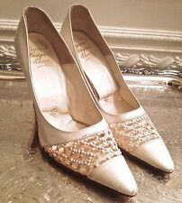 WOMENS  VINTAGE MR SEYMOUR DESIGNER WEDDING SHOES LAMBSKIN LEATHER & BEADING