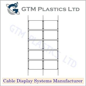 Cable Window Estate Agent Display - 2x5 A4 Landscape - Suspended Wire Systems