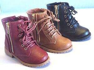 Girl Military Boots Lace-Up Boots Ankle Boots TODDLER RUNS BIG Black Tan inman2a