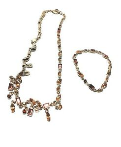 Necklace & Bracelet Matching Set Stones Amber & Gold Plated- Accents Fashion