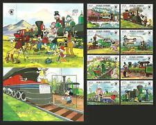 ANTIGUA BARBUDA 1989 TRAINS RAILWAYS PHOTOGRAPHY DISNEY SET & 2 M/SHEETS MNH
