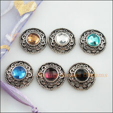 6Pcs Tibetan Silver Mixed Crystal Round Flower Charms Pendants Connectors 18mm