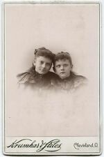 CABINET CARD TWO YOUNG SISTERS. PEARL ST CLEVELAND, OHIO.