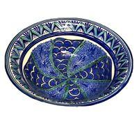 "Studio Art Pottery Blue Green Glazed 11"" Bowl - Signed"