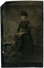 Photo Ferrotype Portrait Jeune Femme Vers 1870