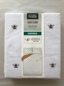 White Bumble Bee Easy Care Reversible Duvet Cover Set Double Honeycomb Bedding