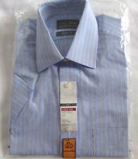 NUEVO Camisa de manga corta hombre 14 1.3cm Cuello 37cm m&s algodón mezcla Azul