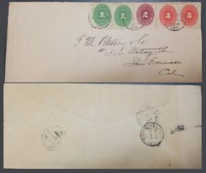 G)1891 MEXICO, NUMERAL PAIR 1c-SINGLE 2c-3c PAIR, CIRCULATED COVER FROM NOGALES,