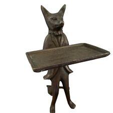 Vintage McM Bronze Brass Fox Business Card Butler Figurine Waiter Holder Statue