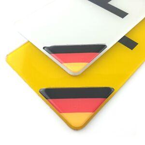 German Flag Number Plate Corner Sticker 50mm x2 Domed Gel Coated Decal