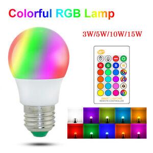 E27 LED LAMPADINE Lampadina RGB LUCE 3W-15W Bulbo Dimmerabile con telecomando