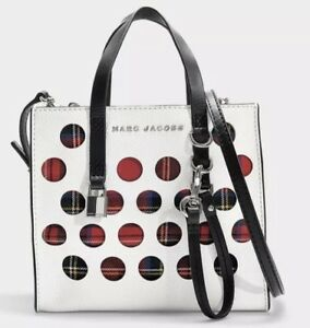 New MARC JACOBS The perforated tartan mini Grind bag Porcelain padlock M0014106