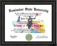 Dodge Ball Lover's Doctorate Diploma / Degree Custom made & Designed for You