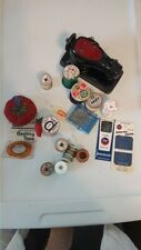 Vintage Sewing Supplies - Pin Cushions, Needles, Thread, Needle Threader, Pins