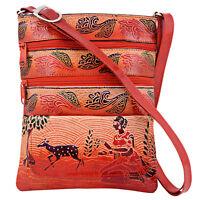 Genuine Leather Crossbody Bag Women Indian Shantiniketan Vintage Brown Embossed