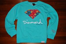 NEW Diamond Supply Company Soft Blue Hibiscus Pullover Sweatshirt (X-Large)
