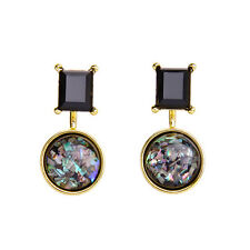 N295 Black Onyx and Opal Imitation Ear Convertible Jacket Drop Stud Earrings