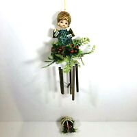 Vtg Blow Mold Christmas Wind Chimes Angel with Green Glitter Plastic Leaves