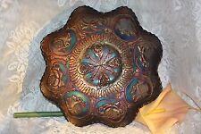 "FENTON Blue Carnival Glass LOTUS & DRAGON 9"" Bowl Amazing Colors Ruffled"