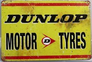 DUNLOP Rustic Look Vintage Tin Metal Sign Man Cave Shed-Garage  Bar Sign
