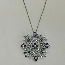 Handmade 18ct White Gold Sapphire, Blue Topaz & Diamond Snowflake Necklace.