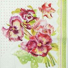 4x dipinto Pansy nel libro Verde Tovaglioli per Decoupage Decopatch Craft