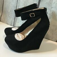 Dream Pairs Women's Wedge Platform Ankle Strap Suede Shoes Size 9 Black