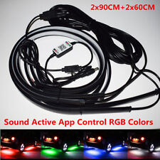 4x Upgraded RGB LED Car Underglow Underbody Sound Active Phone App Control Light