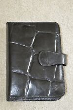 Mulberry Black Croc Leather Popper Diary Organiser Wallet Cardholder Womens
