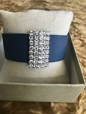 Paparazzi Navy Blue Faux Leather Wrap Cuff Bracelet Crystal Bling Accent