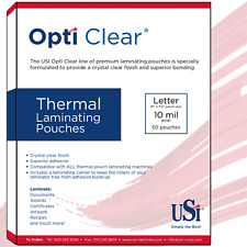 """Opti Clear Thermal Hot Laminating Pouches Letter Size 10 Mil 9x11.5"""" 50 Pouches"""