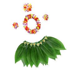 5x Hawaiian Costume Set Leaf Skirt Dancing Performance Luau Party Supplies