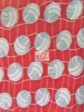 "VOLLEYBALL PRINT POLAR FLEECE FABRIC - White Net Red - 60"" WIDTH BY YARD 967"