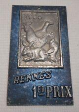 ANCIENNE PLAQUE ALUMINIUM RENNES 1er PRIX 1985 BASSE COUR