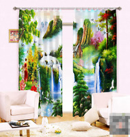 3D Falls Animal Blockout Photo Curtain Printing Curtains Drapes Fabric Window AU