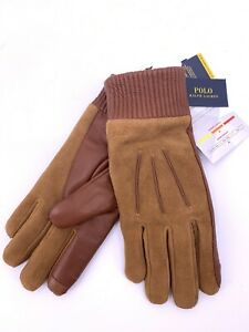 Polo Ralph Lauren Brown Suede And Leather Thinsulate 3M Medium Size Gloves (B-9)