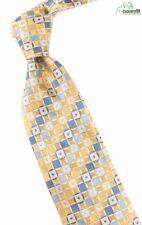 Hugo Boss jaune doré / Bleu / blanc crème tissé Géométrique 8.9CM Large
