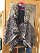 Accessorize Cape / Poncho One Size With Faux Fur Collar