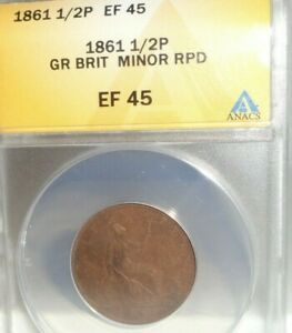 1861 Great Britain 1/2P Half Penny Coin ANACS EF 45 Minor RPD Repunched Date