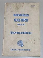 Instrucciones Servicio Morris Oxford Serie Vi