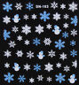 Christmas BLUE WHITE Snowman Glittery Snowflakes 3D Nail Art Stickers Decals