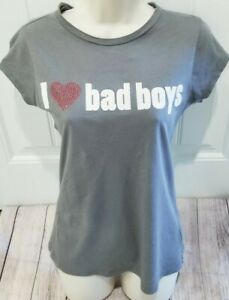 Max Rave JUNIORS I Love Bad Boys Screenprint Graphic T Shirt Large Grande Gray