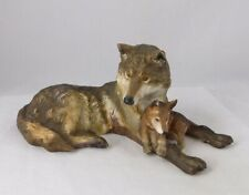National Wildlife Federation Official Issue Porcelain Woodland Repose Wolf & Pup