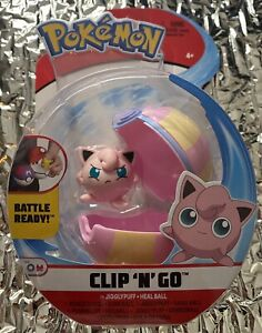 Pokemon Clip 'N' Go Jigglypuff + Heal Ball Pink Pokeball Battle Ready Scaled NEW