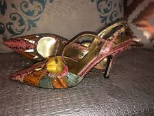 ?? J Renee Sloan Multi Snake Print With Gold Accent Heels Size 10??