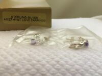 Vintage 1997 Avon Sterling Silver Amethyst Love Pierced Earrings