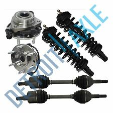 2 Front Wheel Hub & Bearings ABS + 2 Complete Struts + 2 CV Axle Drive Shaft 4WD